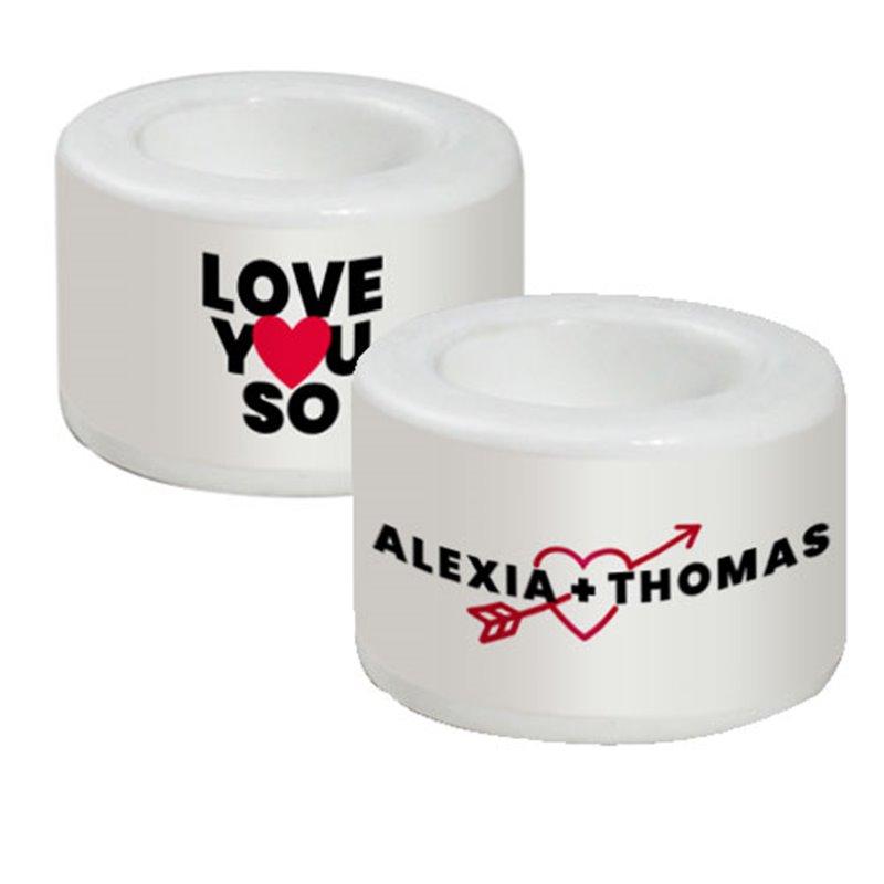 Lot de 2 bougeoirs en céramique blanche Love You So à personnaliser avec vos prénoms