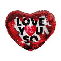 Coussin à sequins personnalisé en forme de coeur Love You So